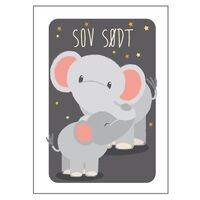 Elefant Med Unge Plakat - 21x30 Cm