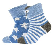 2-pk Baby Terry sock-Bear/Stars