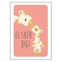 Giraf Med Unge Plakat - 21x30 Cm
