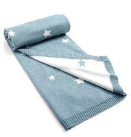 Strikket Tæppe - Blå Stjerner
