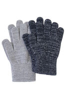 2-Pack Gloves w/lurex - Sort/Grå