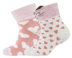 2-pk Baby Terry sock - Cat/Hearts