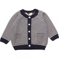 Stribet Baby Cardigan - Navy