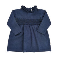 Langærmet Kjole Med Blonder - 7140 Indigo Blue