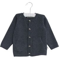 Klassisk Strikket Cardigan - 1303 Greyblue Melange