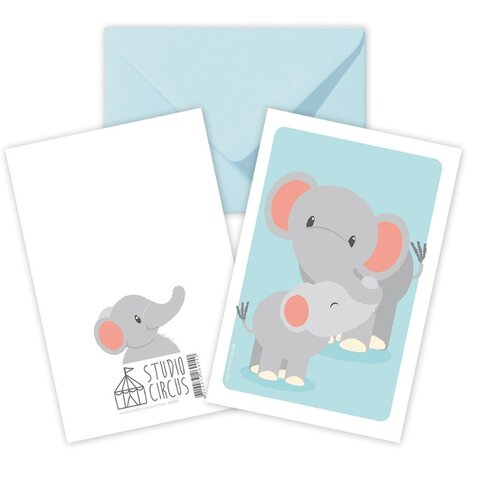 Elefant, Dobbeltkort Med Kuvert