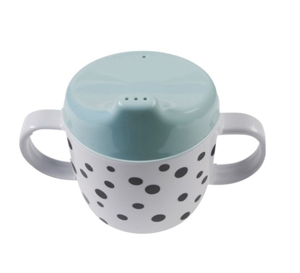 Image of   Done By Deer Dots 2 Handle Spout Cup, blue