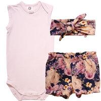 Pakke Med Body, Bloomers Og Hårbånd - Rose Print