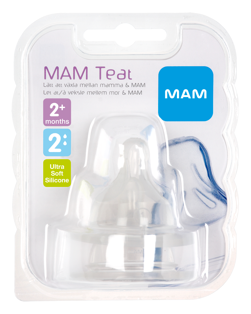 Image of   MAM 2-Pak Flaskesut Teat, Størrelse 2