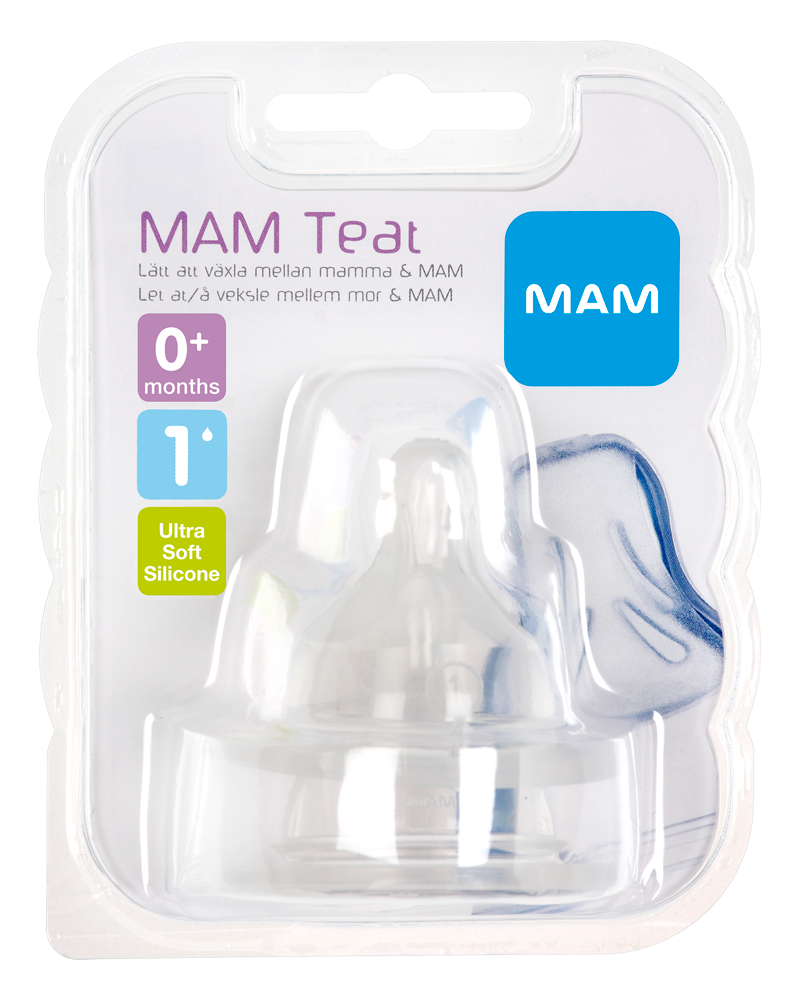 Image of   MAM 2-Pak Flaskesut Teat, Størrelse 1