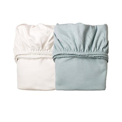 Højmoderne Leander® Jersey Lagen Til Vugge, 2 pak - Blå/Hvid - Babysam.dk HL-43