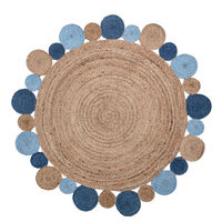 Jute Tæppe Med Blå Cirkler