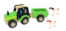 Traktor I Træ Med Anhænger