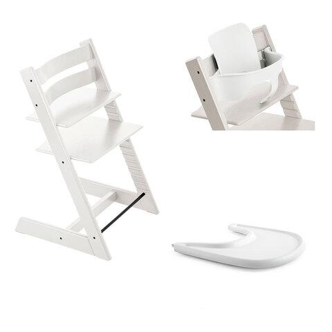 Tripp Trapp Højstol Inkl. Babyset og Tray, White/White