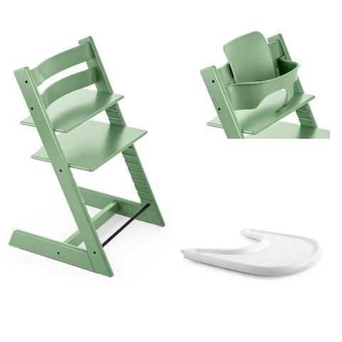 Tripp Trapp Højstol Inkl. Babyset og Tray, Moos Green/White