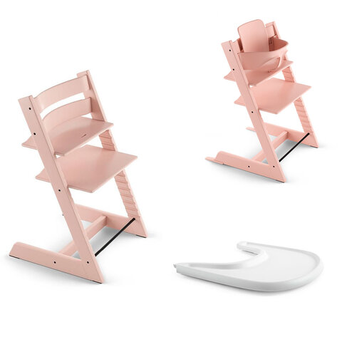 Tripp Trapp Højstol Inkl. Babyset og Tray, Serene Pink/White