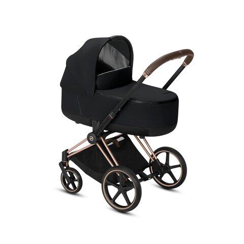 Priam Lux Seat + Carry Cot Premium Black + Rosegold Stel