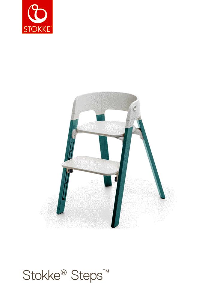 Image of   Stokke® Steps™ Højstol, Hvid/Aqua Blue