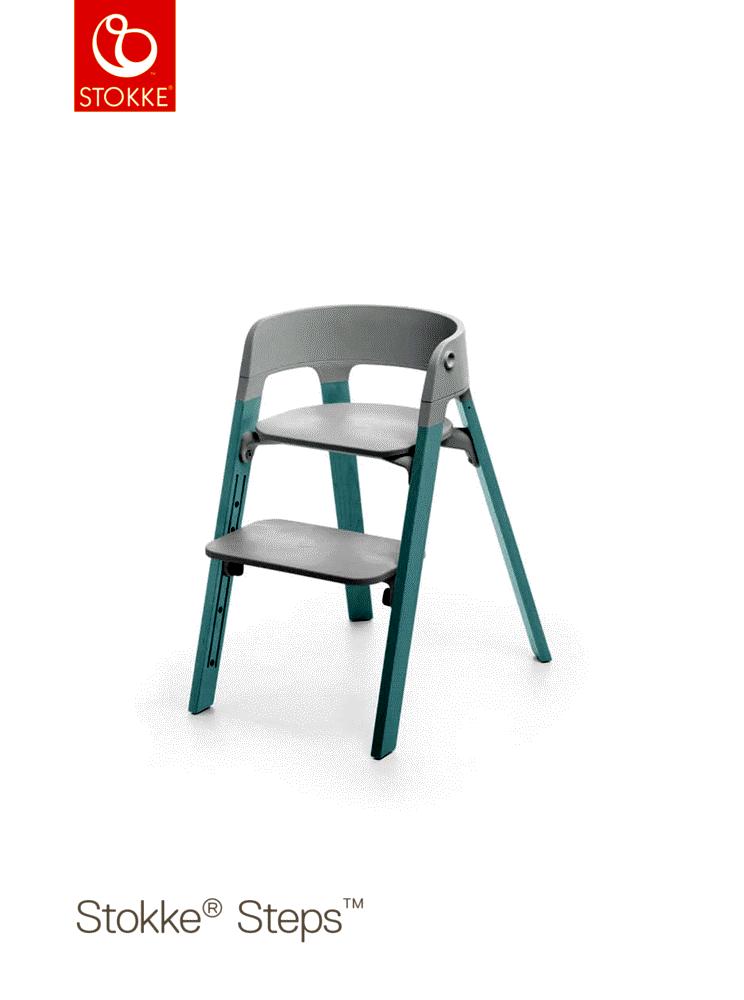 Image of   Stokke® Steps™ Højstol, Bøg - Grå/Aqua Blue