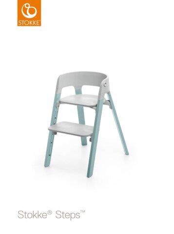 Steps™ Højstol, Bøg - Grå/Aqua Blue