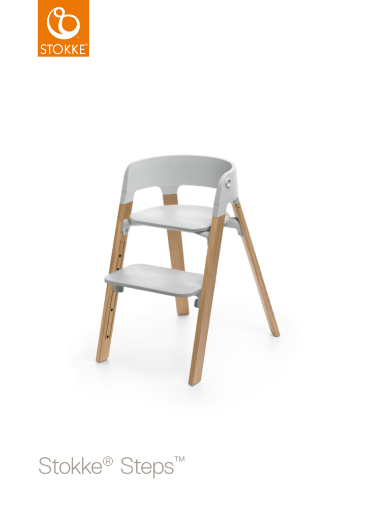 Image of   Stokke® Steps™ Højstol, Grå/Bøg Natural