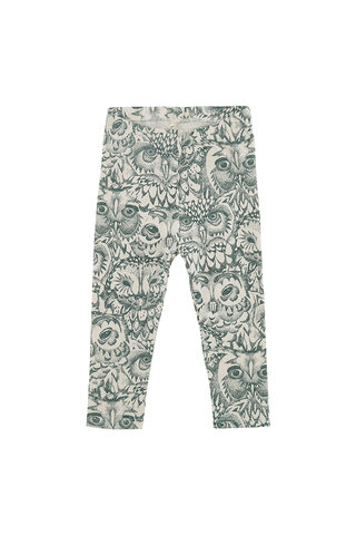 Baby Paula Leggings - Cream, AOP Owl Green