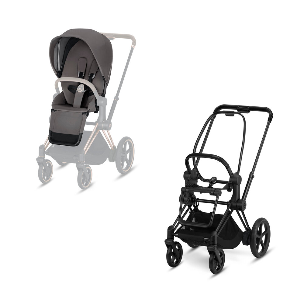 Image of   Cybex ePriam Klapvogn, Manhatten Grey Med Matt Black Stel