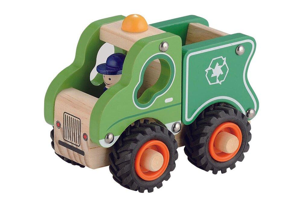 Magni Skraldevogn, Træ Med Gummihjul - Trælegetøj - Magni