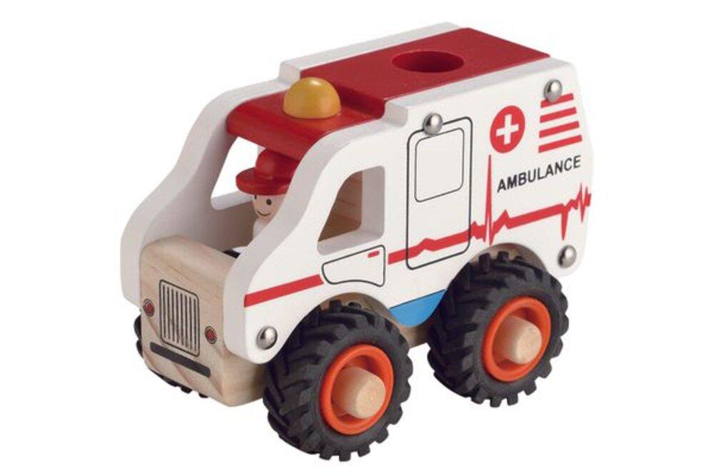 Magni Ambulance I Træ Med Gummihjul - Trælegetøj - Magni