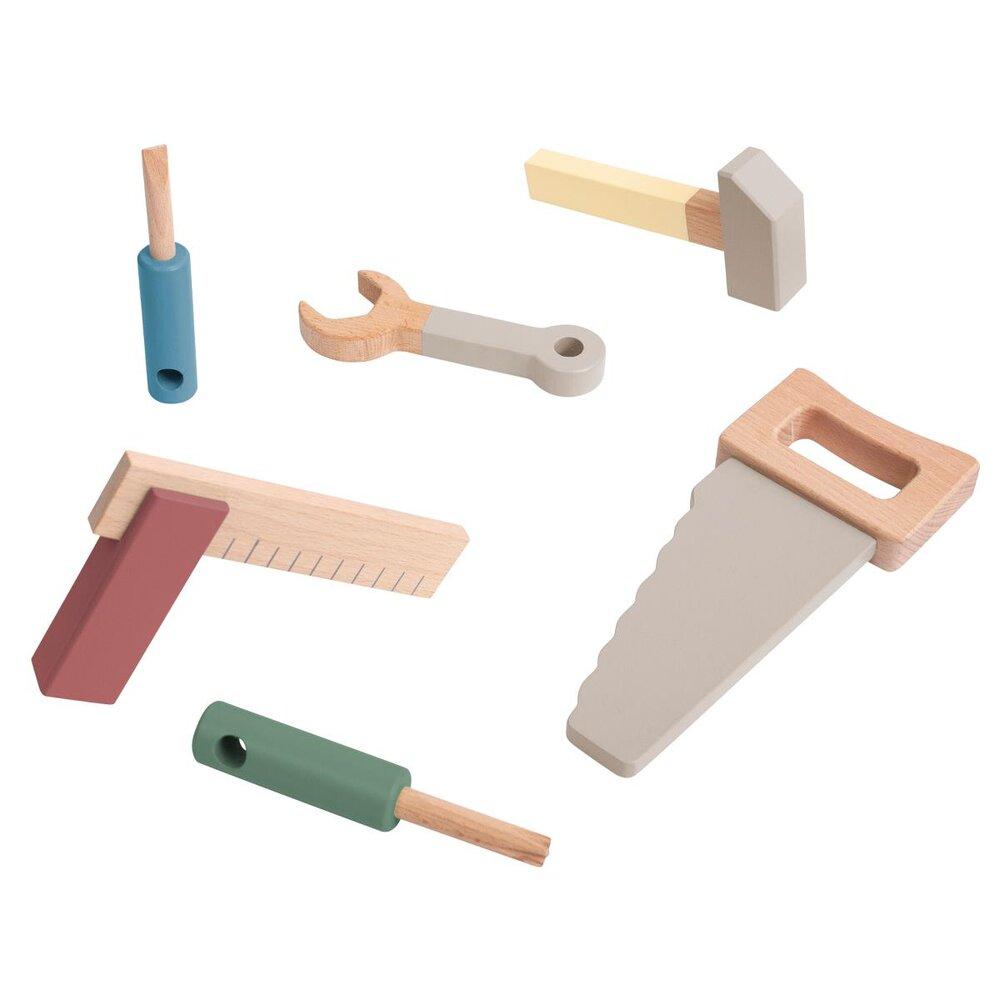Sebra Værktøjssæt I Træ, Warm Grey - Trælegetøj - Sebra
