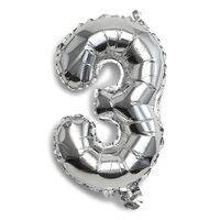 Folie Ballon 3-Tal Sølv