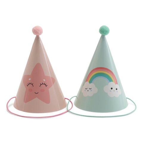 Festhatte 6 stk - Pink/Mint