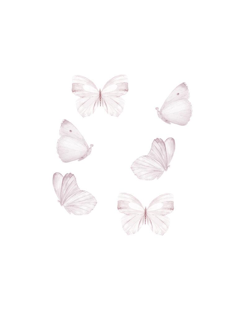 Image of   That´s Mine Vægdekoration sommerfugle sæt med 6 stk. hvid