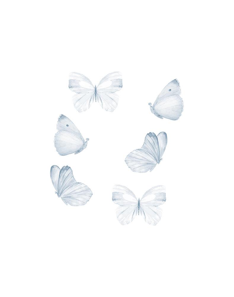 Image of   That´s Mine Vægdekoration sommerfugle sæt med 6 stk. blå