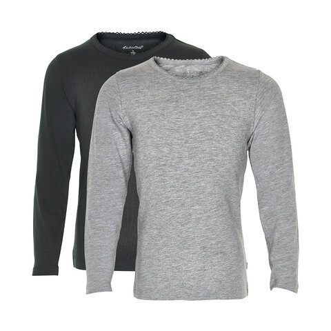 2 Pak Basic Bluser - grey/black- 193