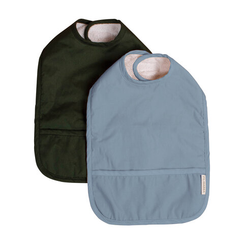 2-pak hagesmæk m. velcro, Powder blue/Dark green