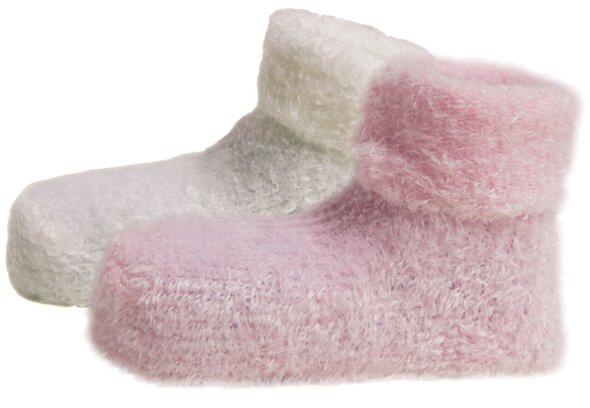 2-Paks Plys Baby Strømper  - Baby Pink/504