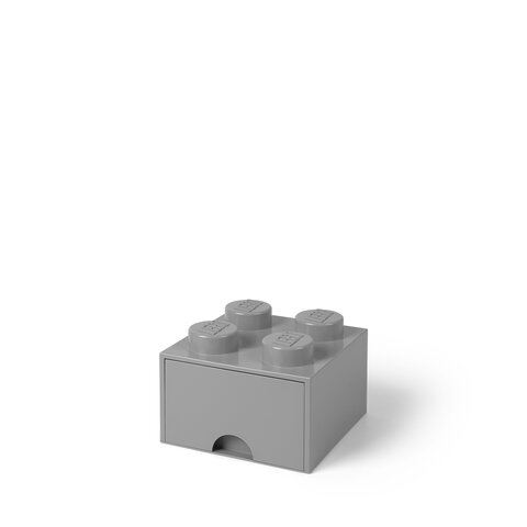 LEGO Opbevaringsskuffe Brick 4 - Medium Stone Grå