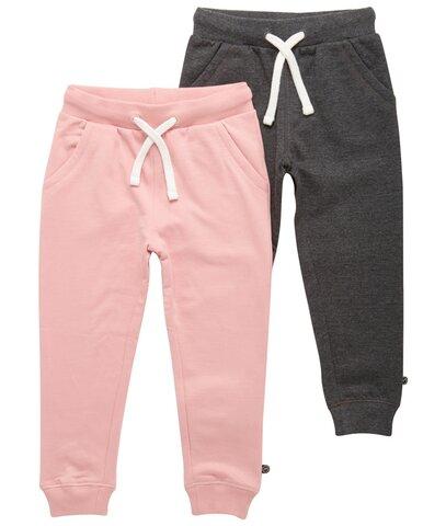 2 Pak Basic Sweatbuks - Lyserrød/Mørkegrå/568