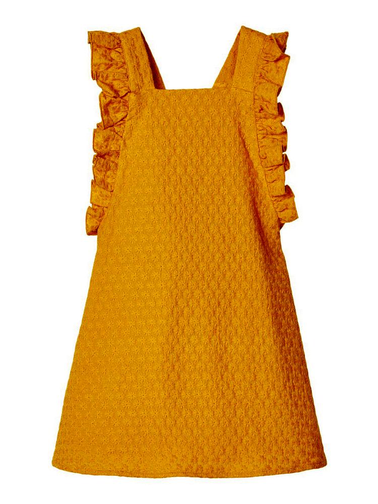 Image of   LIL ATELIER Gunver kortærmet kjole - Nugget gold