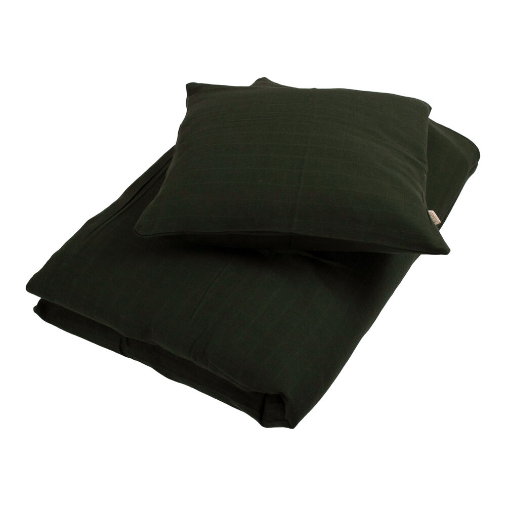 Filibabba Muslin sengetøj junior, Dark green - Dyne & pudebetræk - Filibabba