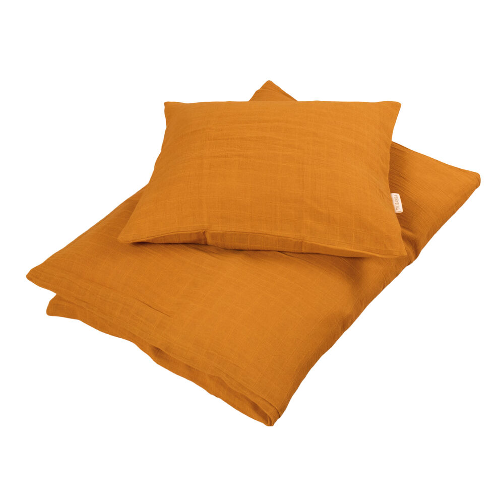Filibabba Muslin sengetøj baby, Golden mustard - Dyne & pudebetræk - Filibabba