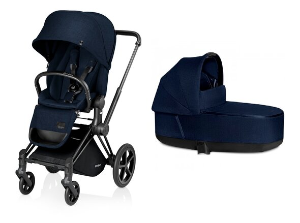Priam Lux duovogn, midnight blue PLUS, med mat sort stel