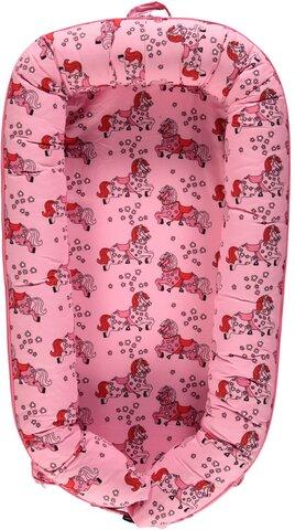 Luksus babynest med heste sea pink