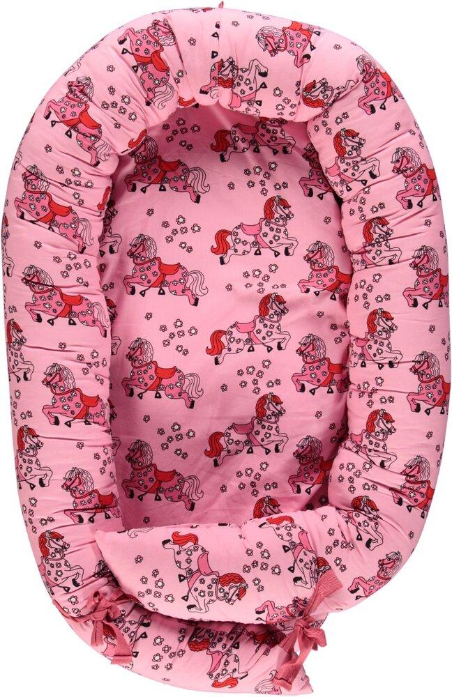 Småfolk Babynest med heste - sea pink - Babynest - Småfolk