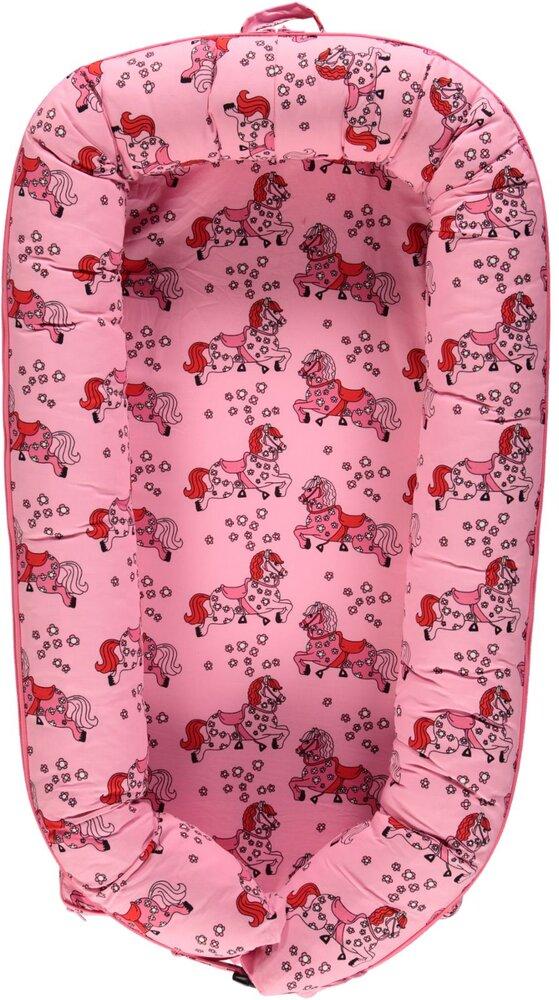 Småfolk Luksus babynest med heste sea pink - Babynest - Småfolk