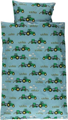 Junior sengesæt med traktor - blue grotto