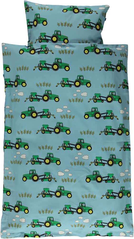 Småfolk Junior sengesæt med traktor - blue grotto - Dyne & pudebetræk - Småfolk