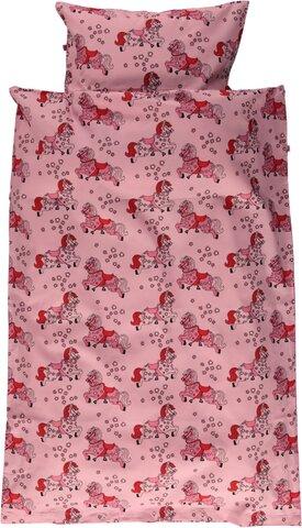 Baby sengesæt med heste - sea pink