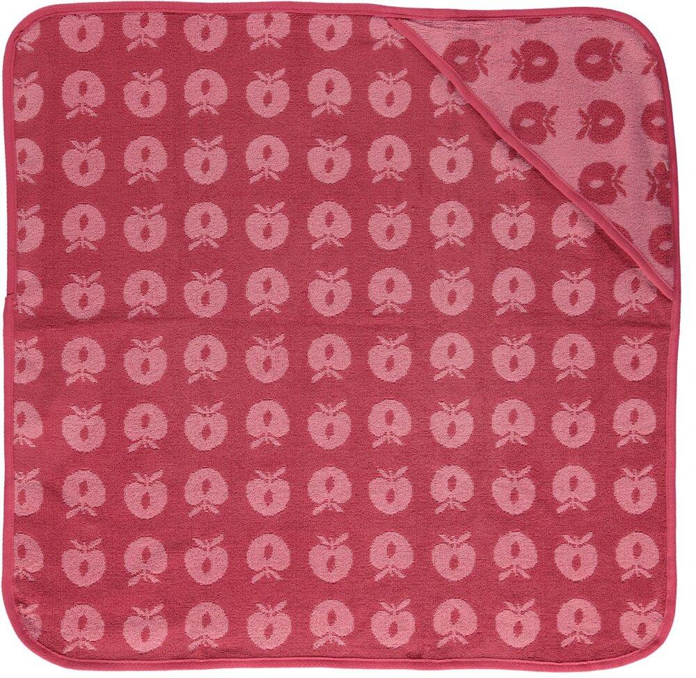 Småfolk Baby håndklæde med æbler - sea pink - Badeslag, morgenkåber & håndklæder - Småfolk